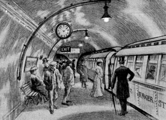 Passengers waiting to board a tube train on the London Underground in the early 1900s (sketch by unknown artist) Baker Street Waterloo Railway platform March 1906.png