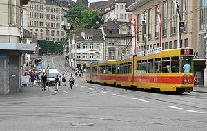 Trams in Basel - BLT tram on line 11.