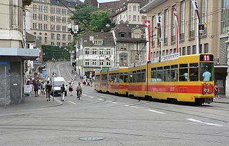 Trams in Basel - BLT tram on line 11.