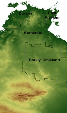 Barkly Tableland region shown on NT elevation model.png
