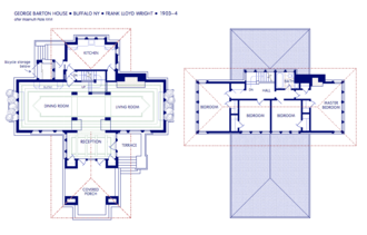 George Barton House - First and second story floor plans