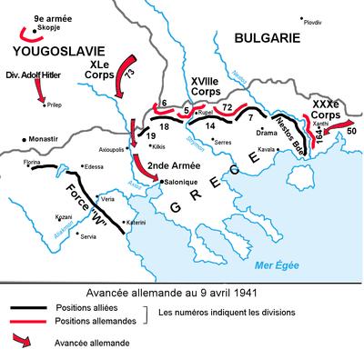 Carte centrée sur Salonique et le sud de la Yougoslavie et de la Bulgarie. Les fronts sont matérialisés, ainsi que l'offensive allemande par des flèches.