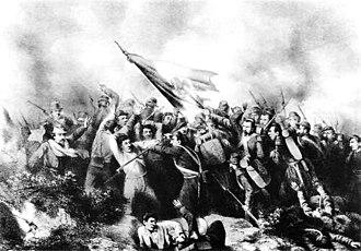 Battle of Barranca Seca - Contemporary illustration of the Battle of Barranca Seca by Hesiquio Iriarte