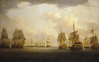 Battle of Cape Finisterre (1805) - Admiral Sir Robert Calder's action off Cape Finisterre, 23 July 1805, by William Anderson. The captured Spanish prizes Firme and San Raphael, are under tow on the right and the damaged HMS Windsor Castle, on the left.