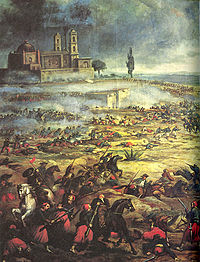 Painting of cavalry battle, with large building in the distance