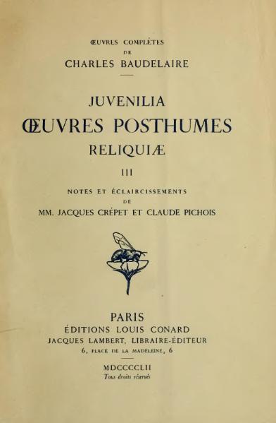 File:Baudelaire - Œuvres posthumes, III, Conard, 1952.djvu