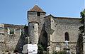 Bazens - Église Saint-Martial et façade sud de la partie détruite du château.JPG