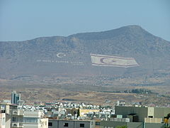 The flag of Northern Cyprus over Pentadaktylos (largest flag of the world)