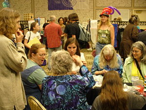 Wiscon - Beaders at Wiscon 2006. Lisa Freitag (far left), Kate Yule (next left), and Amy Thompson (far right).