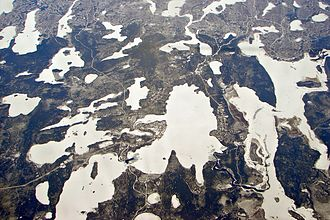 Bearskin Lake First Nation - Aerial view of Bearskin Lake First Nation on Michikan Lake