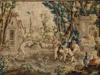 Beauvais Manufactory - Le Cheval fondu from the series of Amusements Champêtres for which Oudry provided cartoons in the 1720s