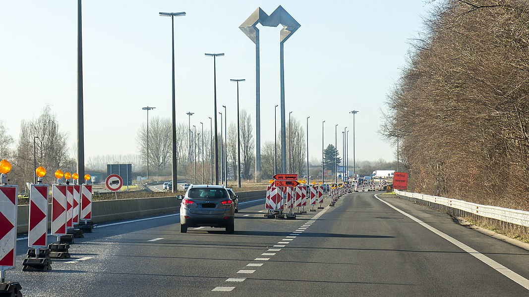 Belgian-French Border Autoroute A7 at  	Valenciennes. Two lanes are narrowed down to one lane for border control duties by the France police due to the 	state of emergency in France.