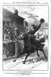 """Wood engraving from The National Police Gazette. The caption reads, """"A wild western amazon. The noted Belle Starr is arrested on the border of Indian Territory and being released on bail vanishes on horseback."""""""