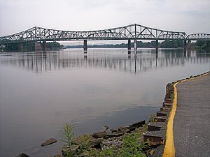 Parkersburg Bridge (CSX) - The Parkersburg-Belpre Bridge (foreground), the CSX Bridge (middle ground), and the Memorial Bridge (background), crossing the Ohio River, as viewed from Point Park in Parkersburg, West Virginia.