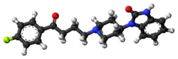 Ball-and-stick model of the benperidol molecule