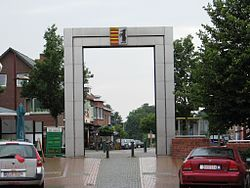 The Paalse Port, gateway on Beringen's central square