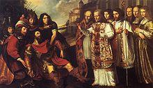 Bernardus van Clairvaux bekeert Willem van Aquitanië.jpg