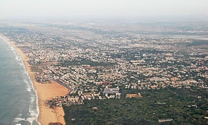 Besant Nagar - An aerial view of Besant Nagar and Elliots beach
