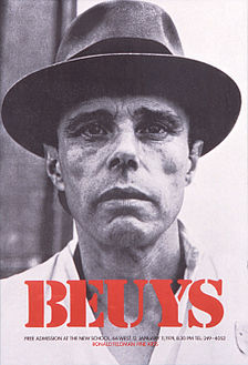 "Offset poster for Beuys' 1974 US lecture-series ""Energy Plan for the Western Man"", organised by Ronald Feldman Gallery - Courtesy Ronald Feldman Fine Arts, New York"