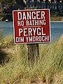 "Bilingual ""No Bathing"" sign - geograph.org.uk - 1432247.jpg"