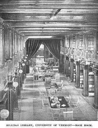 Billings Memorial Library - Image: Billings Library ca 1895 Univ of Vermont