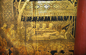 Suan Pakkad Palace - The Lacquer Pavilion: gold-on-lacquer wall painting showing the reclining Buddha