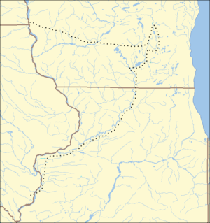 Locator map of Wisconsin, Iowa, and Illinois showing location of battles described in the text, the battles are clustered in northeast Illinois and southeast Wisconsin