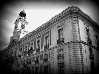 Black and white photograph taken at Puerta del Sol in Madrid.jpeg