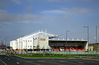 Blackpool F.C. - Bloomfield Road, Blackpool's home since 1899, during its reconstruction phase in the early part of the 21st century. This view is looking north.