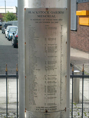 Liverpool Blitz - Plaque on memorial to those killed on 21 December at Blackstock Gardens, Liverpool