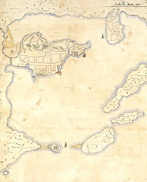 1689 Boston revolt - In this detail from a 1692 map, the Boston peninsula is near the upper left, the Charlestown peninsula is at the top, and Castle Island is visible to the lower left. Fort Mary can be seen on the lower side of the Boston peninsula.