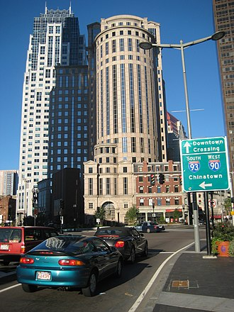 Interstate 93 - Signs in the Financial District of Boston point toward Downtown Crossing, Chinatown, Interstate 93, and Interstate 90.