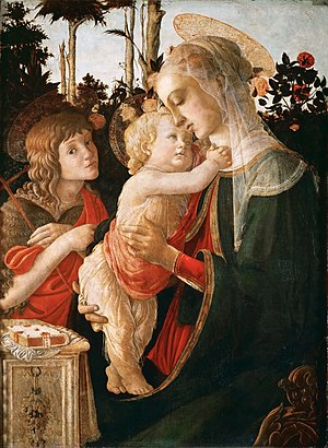Sandro Botticelli - Madonna and Child with St. John the Baptist, c. 1470–1475, Louvre