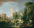 Boucher Paisaje fluvial con ruina y puente.jpg
