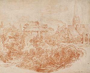 Widok zabudowań wiejskich i wieży kościoła