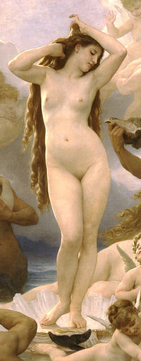 An utterly hairless female body combined with luxuriant tresses was a 19th-century theme: Birth of Venus by William-Adolphe Bouguereau, 1879.
