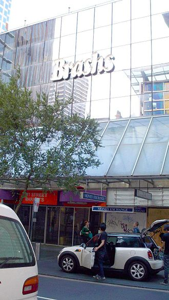 Brashs - Brashs main flagship store at 244 Pitt Street, Sydney. It was opened in December 1986, then shutdown in April 1998 when Brashs went into administration. From 1999 to 2009 the building was leased out to several bargain stores. This photo taken March 2010 shows the building empty, ready for demolition.