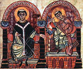 Den hellige Braulius av Zaragoza med den hellige Isidor av Sevilla