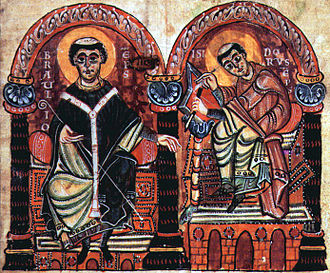 Braulio of Zaragoza - Braulio and Isidore of Seville.  From the Isidori libri originum, second half of the 10th century.