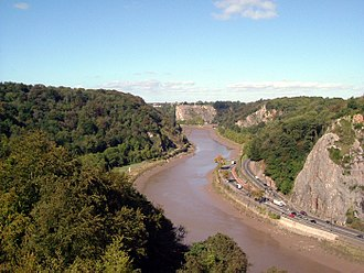 Avon Gorge - Looking north from the bridge, with Leigh Woods on the left and the Portway on the right.