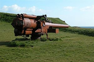 BL 5.5 inch Mark I naval gun - British 5.5 inch naval gun from World War II at Skansin fortress, Tórshavn, Faroe Islands