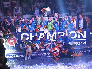 CSM București (women's handball) - CSM Bucharest celebrating their Bucharest Trophy 2014 win against ŽRK Budućnost