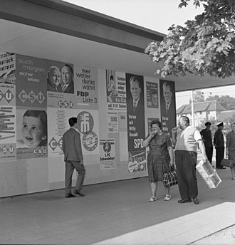 Electoral system of Germany - Election posters in Nürnberg, Federal Election of 1961