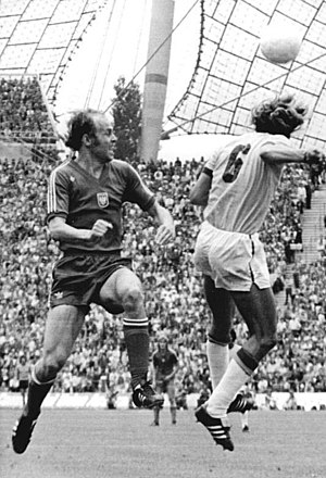 Grzegorz Lato - Lato (left) and Brazil's Marinho Chagas in Munich during the 1974 World Cup