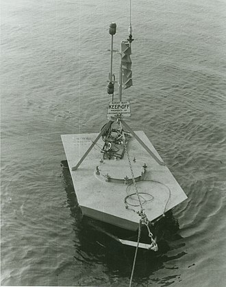 Current meter - A buoy deploying a Roberts radio current meter, c. 1960