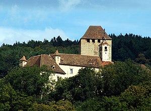 Burg Neuberg gegen den Ringkogel, von Löffelbach aus gesehen