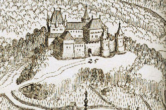 Freiburg Castle - The motte-and-bailey castle in the Topographia Germaniae by Matthäus Merian