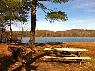 Burr Pond State Park - Image: Burr Pond Connecticut State Park's Southern Beach and Picnic Section