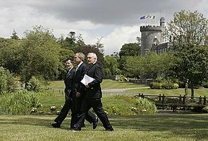 Dromoland Castle - George W. Bush, Bertie Ahern, and Romano Prodi at their joint press conference at the Castle in 2004.