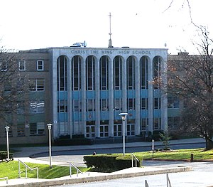 Christ the King Regional High School - Main entrance on Metropolitan Avenue